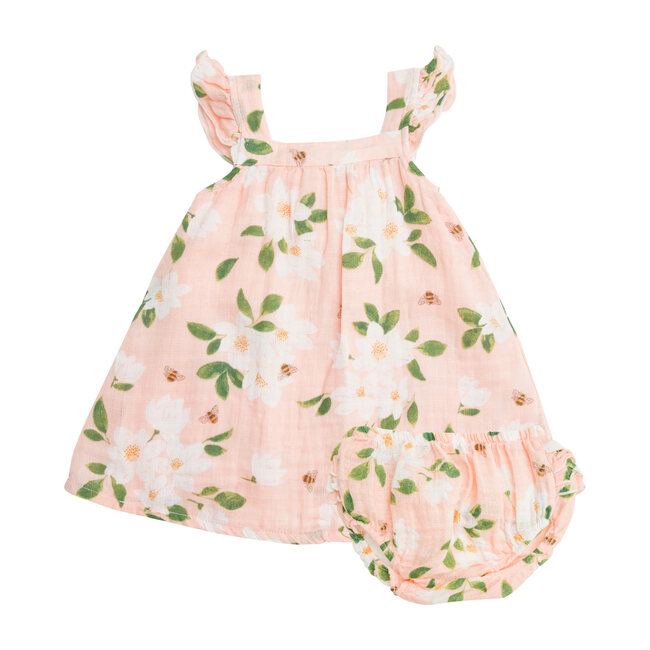 Magnolia Muslin Sundress with Diaper Cover, Pink