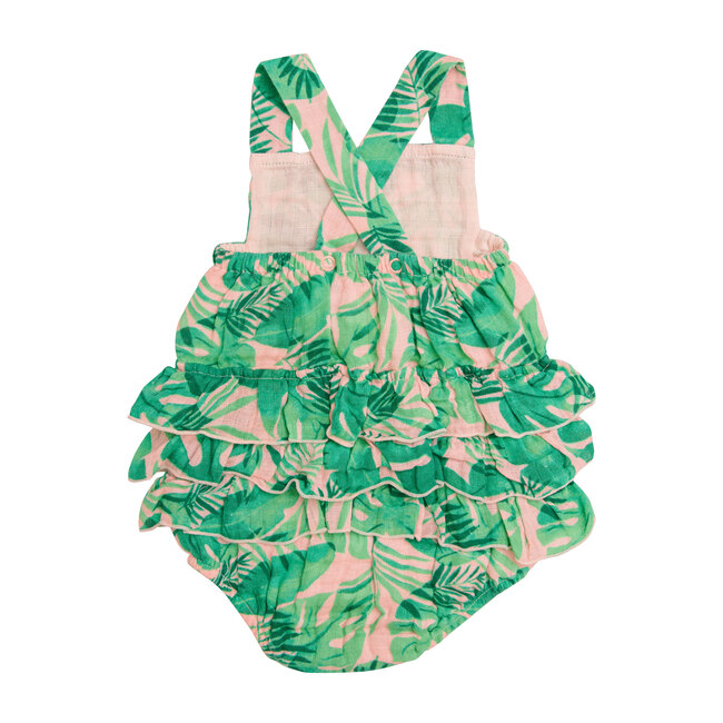 Tropical Leaves, Pink Ruffle Sunsuit, Pink