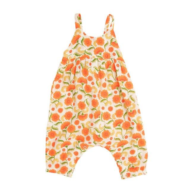 Marigold Swirl Tie Back Romper, Orange
