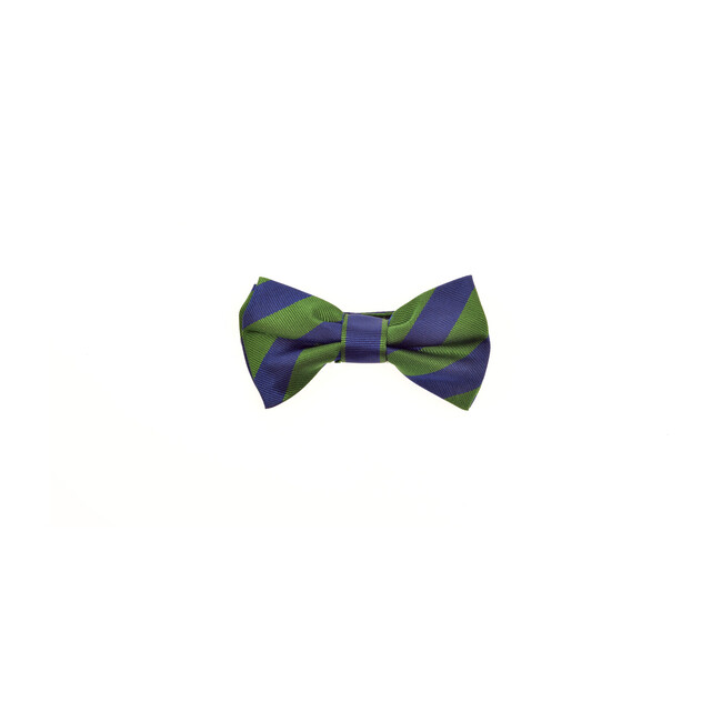 Henley Bowtie, Blue & Green Varsity Stripes
