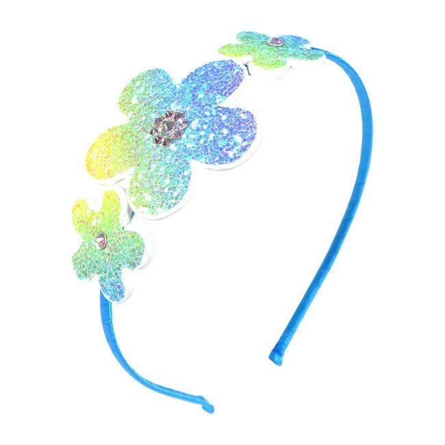 Glitter Flower Headband, Blue