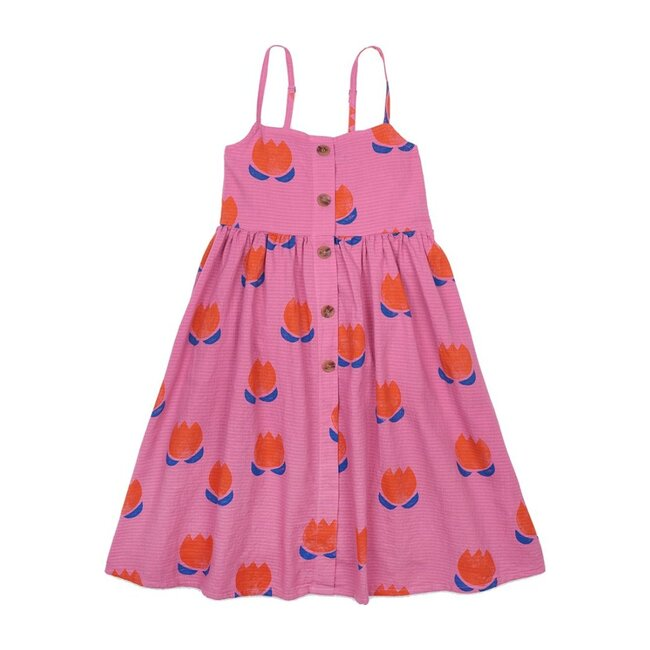 All-Over Flowers Woven Dress, Pink
