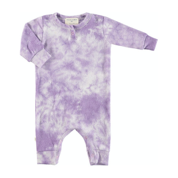 Baby Tie Dye Long Sleeve Henley Coverall, Lavender