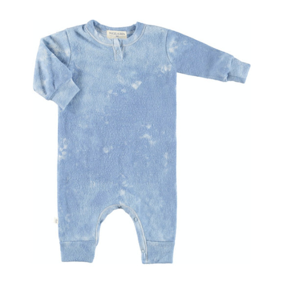 Baby Tie Dye Long Sleeve Henley Coverall, Blue