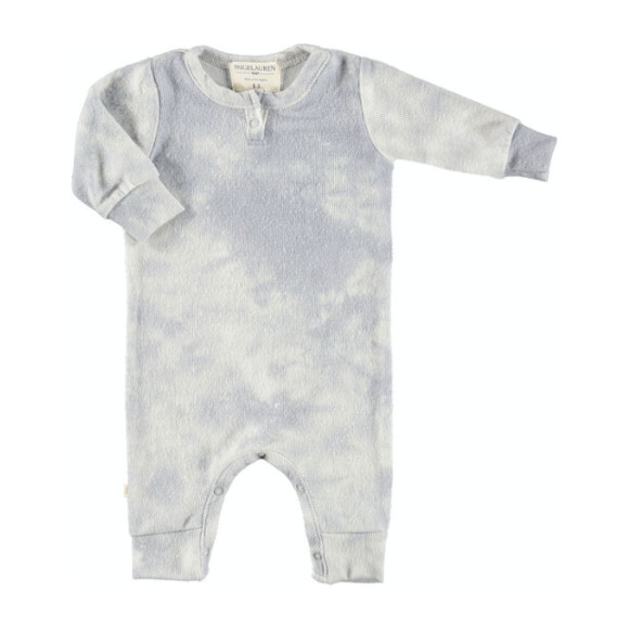 Baby Tie Dye Long Sleeve Henley Coverall, Crystal