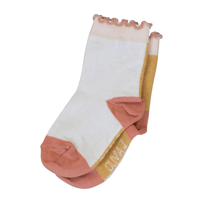 Presley Ankle Sock, Orange & White