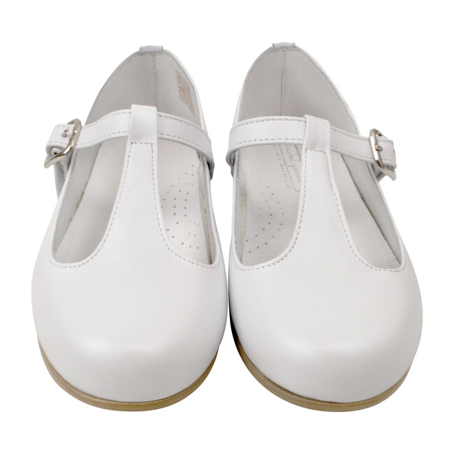 T-Strap Party Shoe, White Leather
