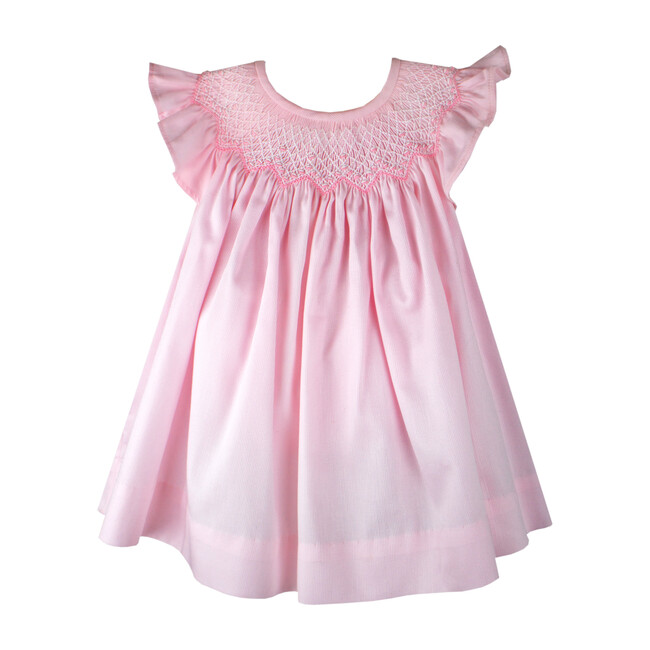 Smocked Bishop Dress & Bonnet, Pink Cotton