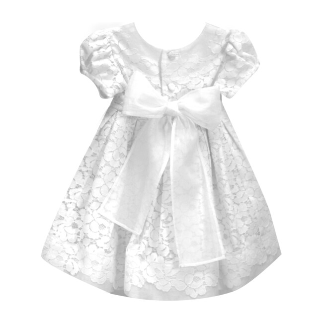 Gala Lace Baby Dress, White Cotton
