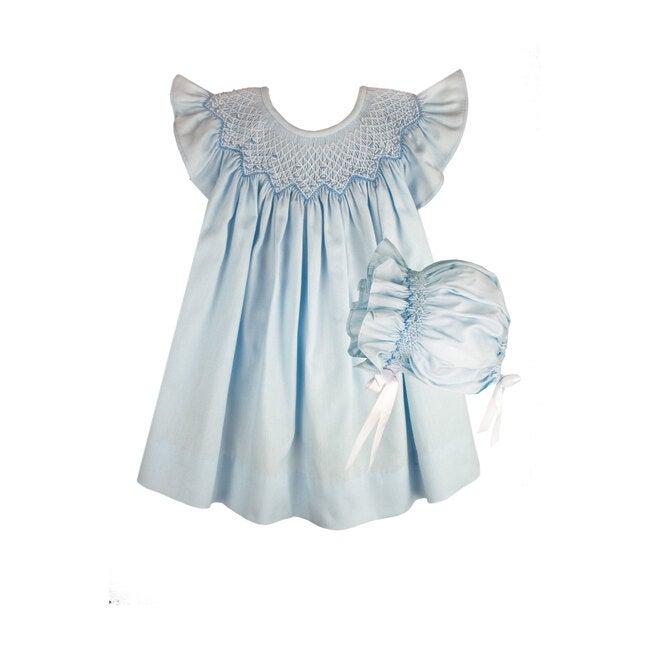 Smocked Bishop Dress & Bonnet, Light Blue Cotton