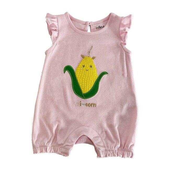 Uni-corn Romper, Pink
