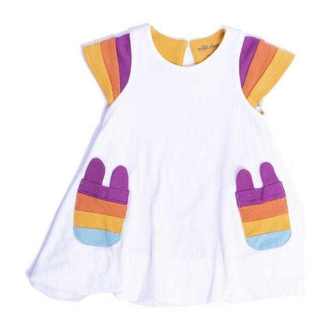 Rainbow Bubble Dress, White