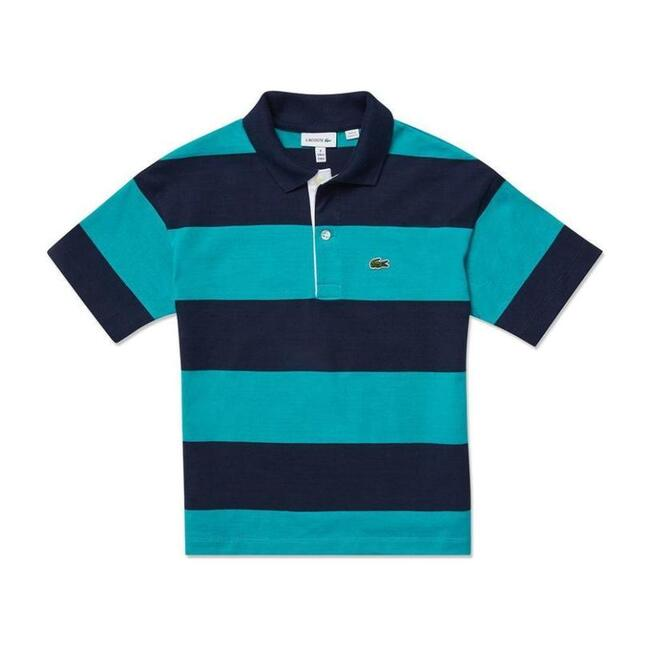 Striped Logo Polo, Blue