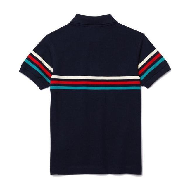 Striped Logo Polo, Navy