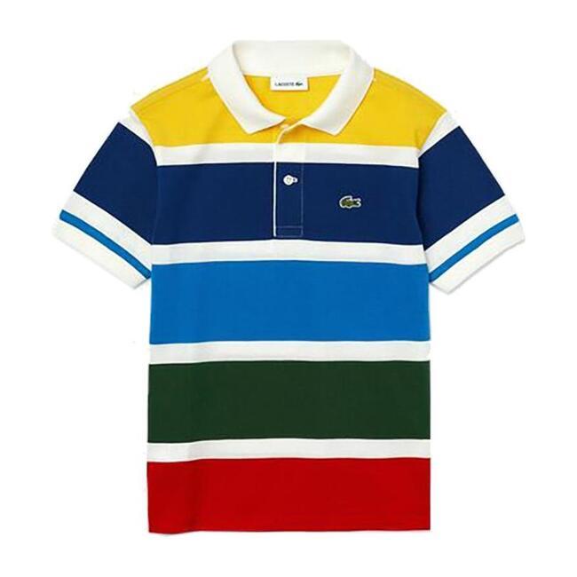 Multicolor Striped Polo, White