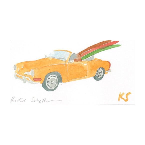 VW Karmann Ghia Orange Convertible Surfboard