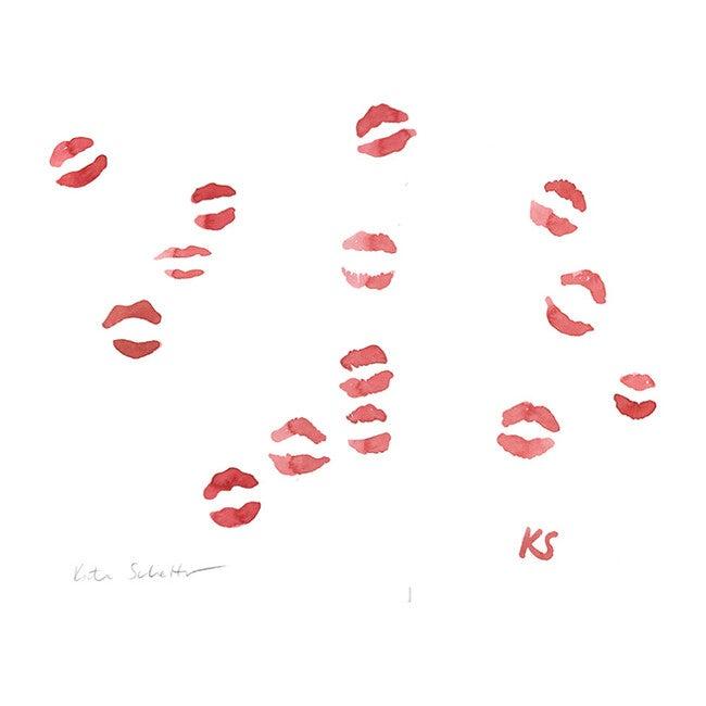"""Red Lipstick Kisses, 13.75"""" x 12.5"""""""