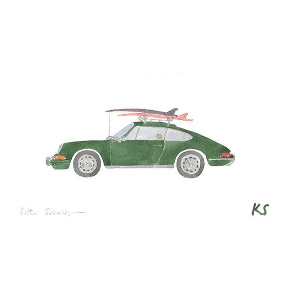 """Porsche 911 Green Surfboards ,14"""" x 10"""""""