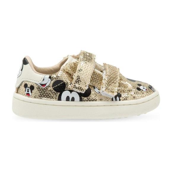 Glitter Mickey Velcro Sneakers, Gold