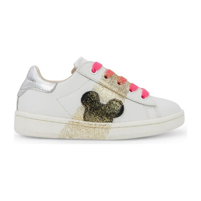 Gold Mickey Silhouette Sneakers, White