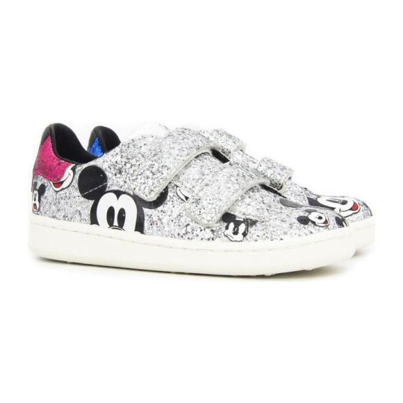 Glitter Mickey Velcro Sneakers, Silver