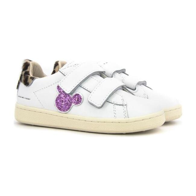 Pink Velcro Mickey Sneakers, White