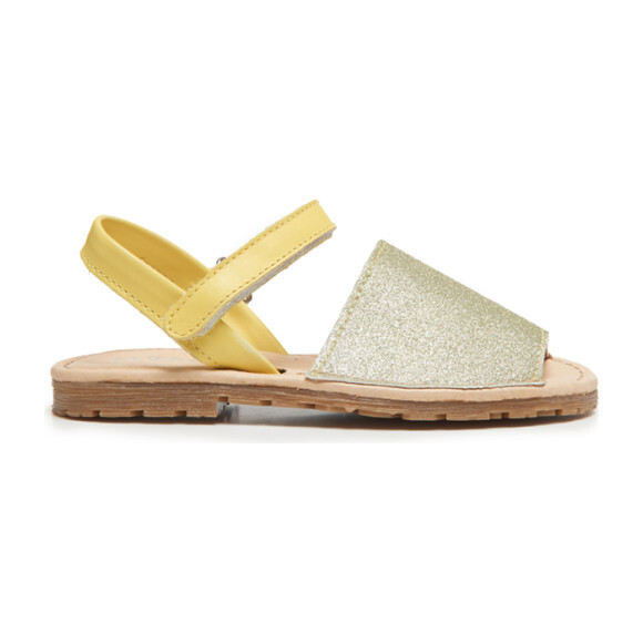 Leather Sandals, Yellow Glitter