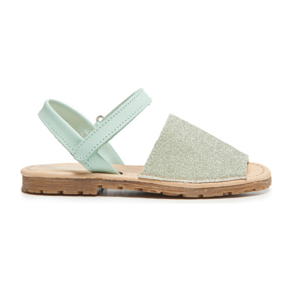 Leather Sandals, Green Glitter