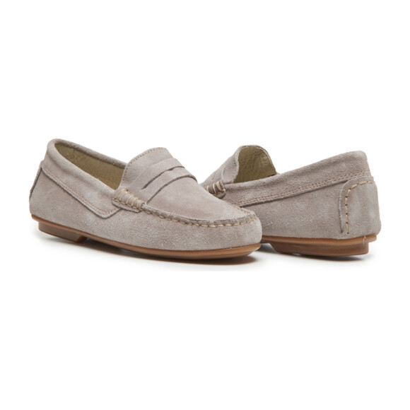 Suede Penny Loafers, Grey