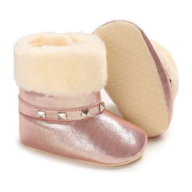 Baby Studded Booties, Pink