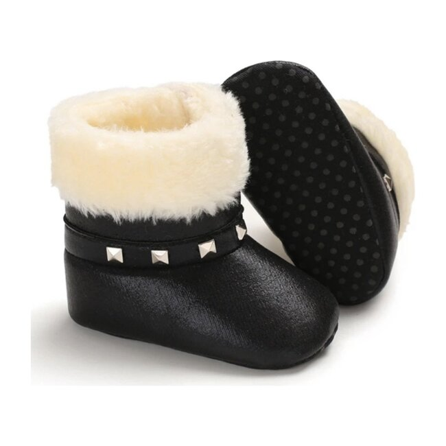 Baby Studded Booties, Black