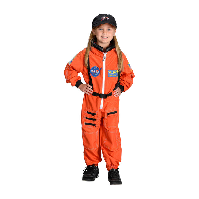 Jr. Astronaut Suit with Embroidered Cap, Orange