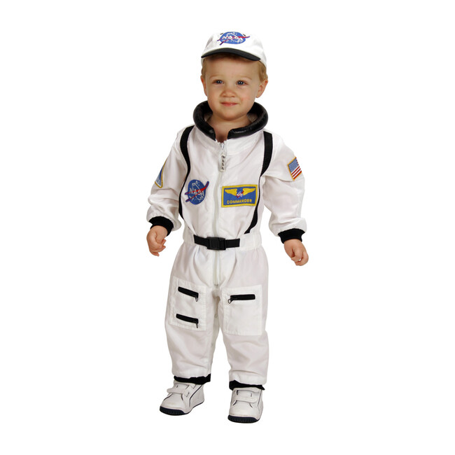 Jr. Astronaut Suit with Embroidered Cap, White
