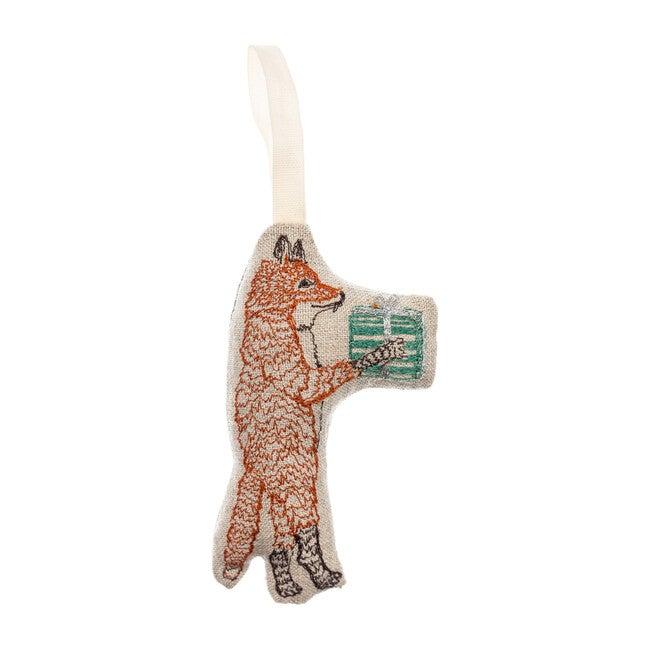 Fox with Present Ornament
