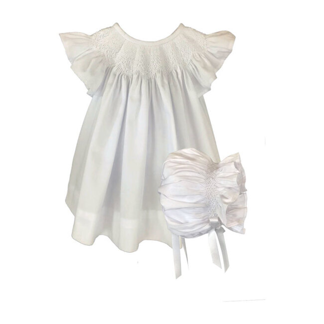 Cotton Pique Smocked Bishop & Bonnet Set, White