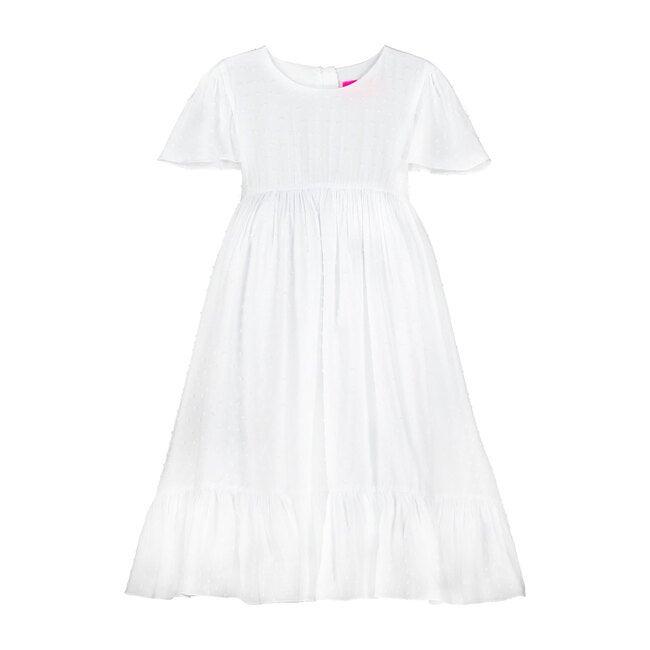 Poppy White Cotton Dobby Girls Party Dress