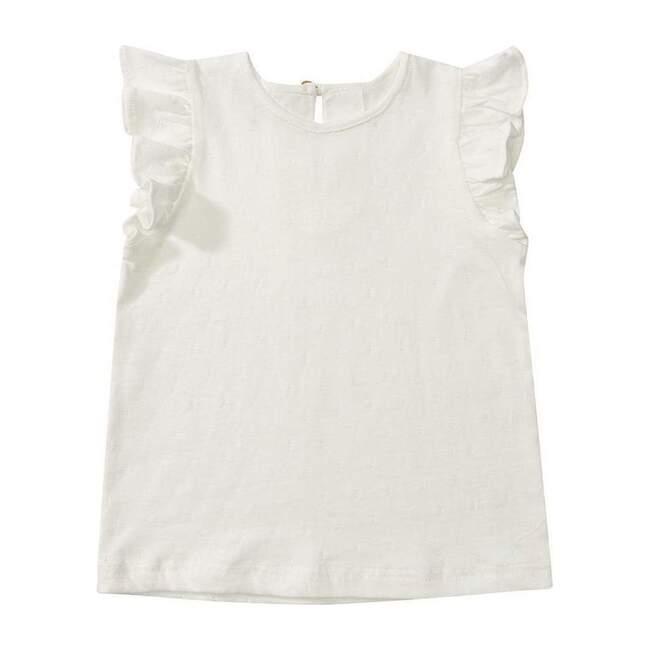 Organic Frill Sleeve T-Shirt, White