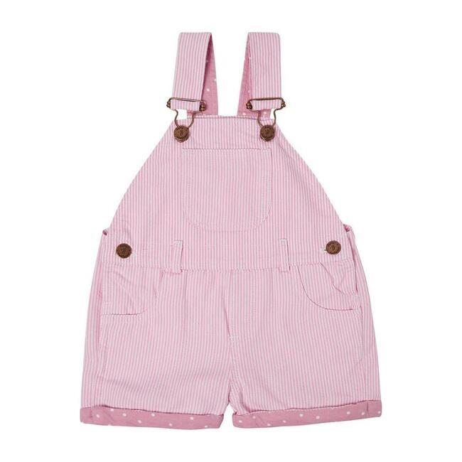 Short Dungarees, Pink Stripes