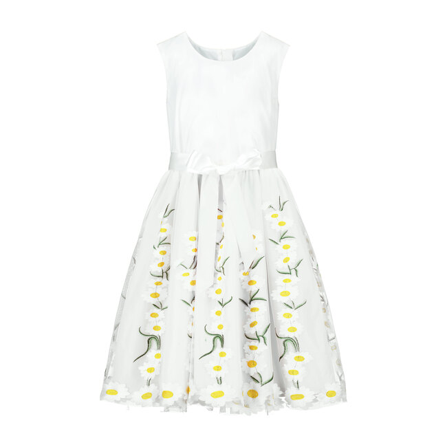 Daisy Embroidered Tulle Dress, White