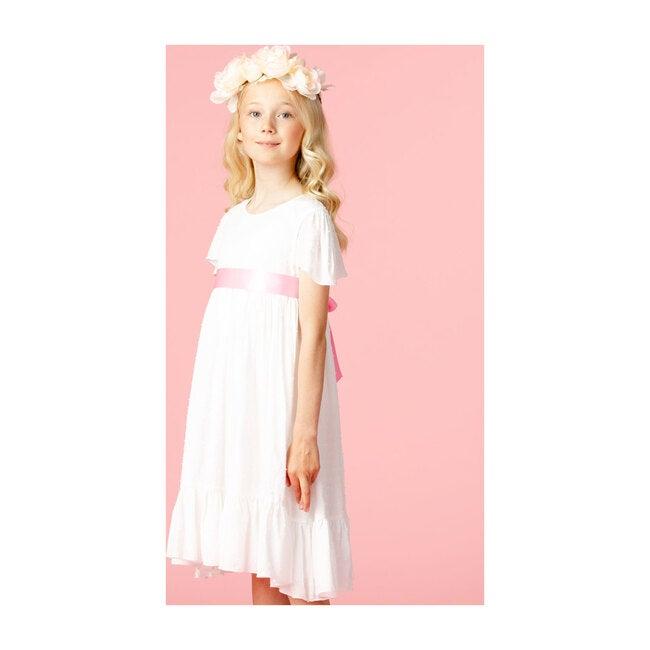 Poppy Petite Spot Cotton Dress, White & Pink