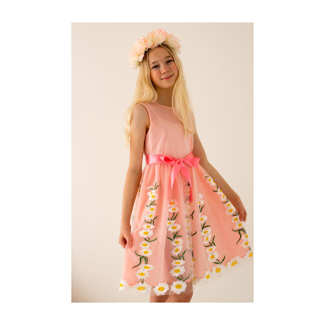 Daisy Embroidered Tulle Dress, Pink