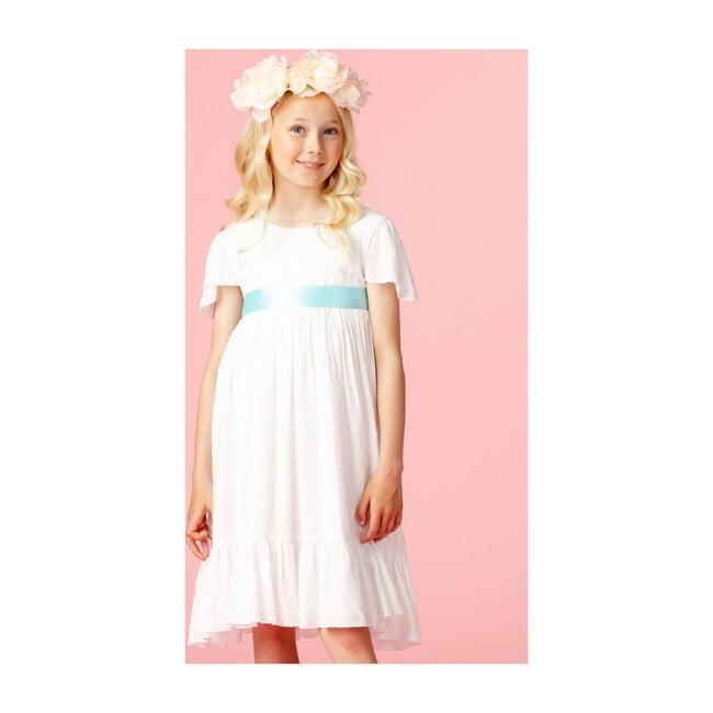 Poppy Petite Spot Cotton Dress, White & Blue