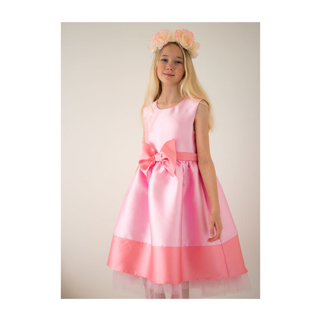 Florence Taffeta Bow Dress, Candy Pink