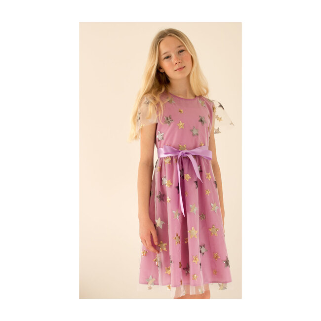 Aster Star Embroidered Tulle Dress, Lilac