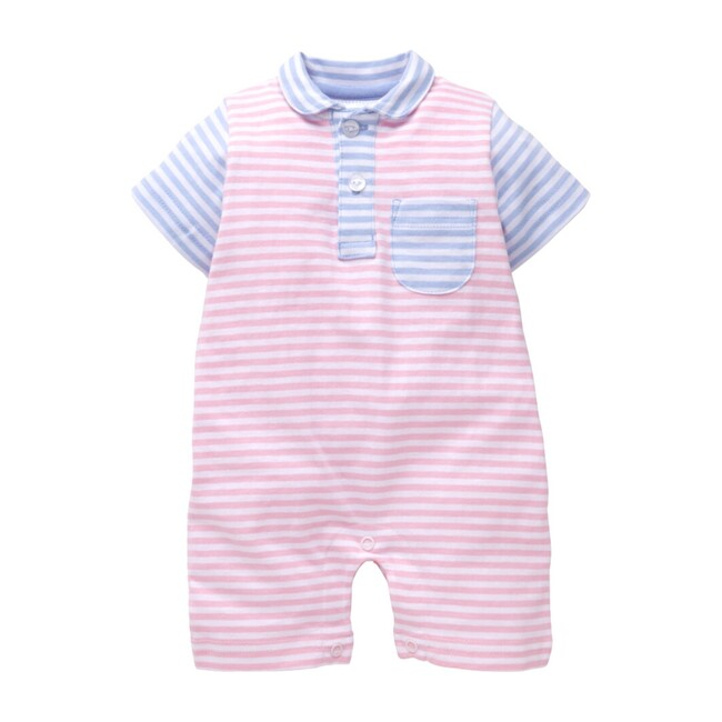 Pocket Peter Pan Romper, Light Pink & Blue Stripes