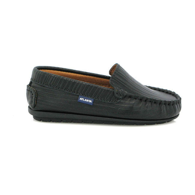 Leather Mocassin, Ostrich Black Print