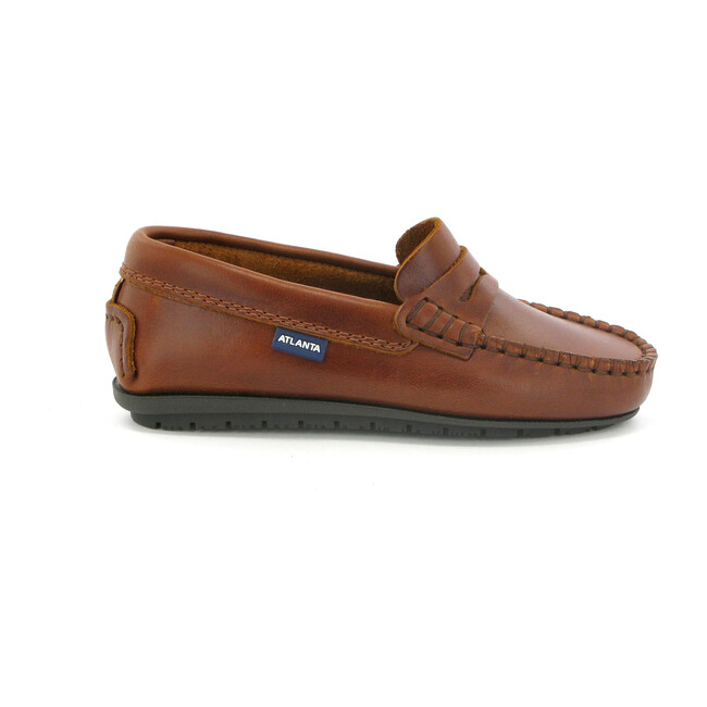 Penny Mocassin in Rustic Leather, Brandy