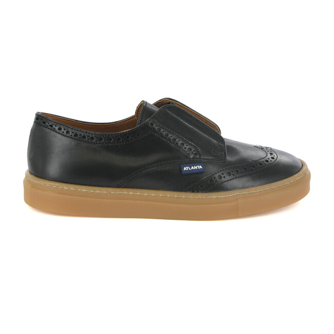 Oxford Tennis Sneaker, Black Leather