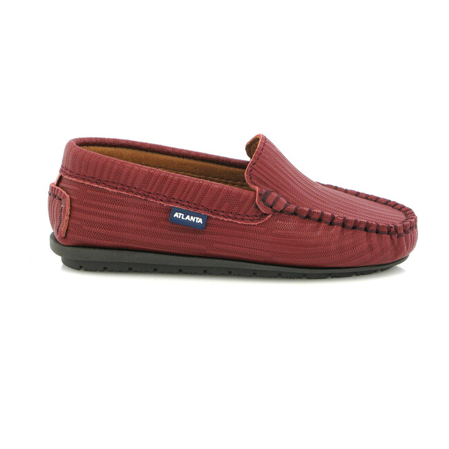 Leather Mocassin, Ostrich Wine Print