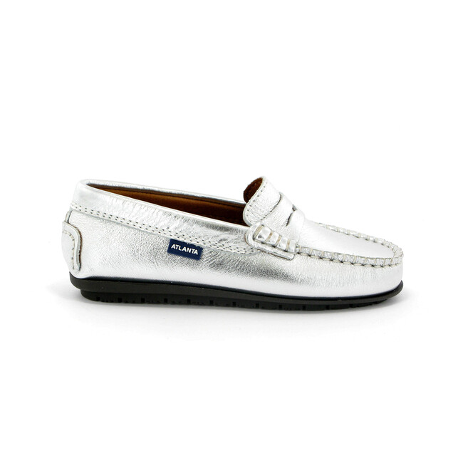 Penny Moccasin in Metallic Leather, Silver
